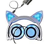KOBWA - Auriculares de diadema con orejas de gato, plegables, luces LED intermitentes para videojuegos, con cable USB cargador para ordenador, teléfono y diseñados para adultos, niños, chicos, chicas (nueva versión)