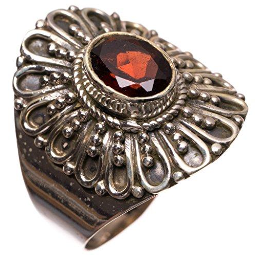 StarGems(tm) 925er Sterling Silber Garnet Einzigartig Handgefertigt Ringe Red S2204 (Ruby Und Garnet Ring)