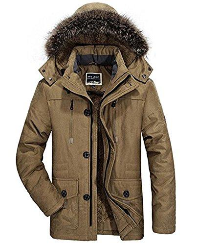 Winterjacke Herren Parka Gefüttert Baumwolle Mantel mit Pelzkragen Jacke Warm Outdoor Kapuzenjacke mit Fell, 03-Khaki, Gr. XS