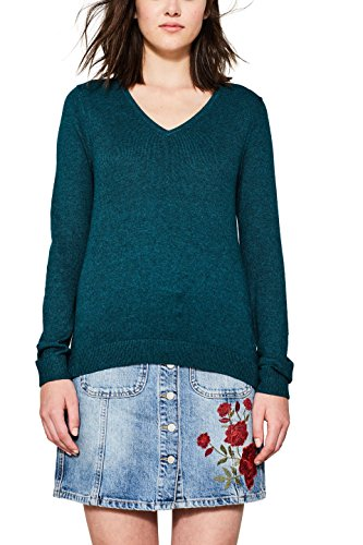 edc by ESPRIT Damen Pullover 077CC1I006, Grün (Dark Teal Green 375), Large Pullover Teal