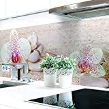 Küchenrückwand Orchideen Weiß Premium Hart-PVC 0,4 mm selbstklebend 60x51cm
