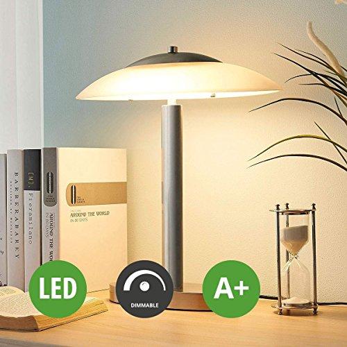 Lampenwelt LED Tischlampe \'Judie\' dimmbar (Modern) in Weiß aus Glas u.a. für Wohnzimmer & Esszimmer (1 flammig, A+, inkl. Leuchtmittel) | LED-Tischleuchte, Wohnzimmerlampe