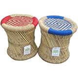 Ecowoodies Lace Handicraft Cane Wooden Standard Breakfast Kitchen Pub High Chair(Multicolour)- Set of 2