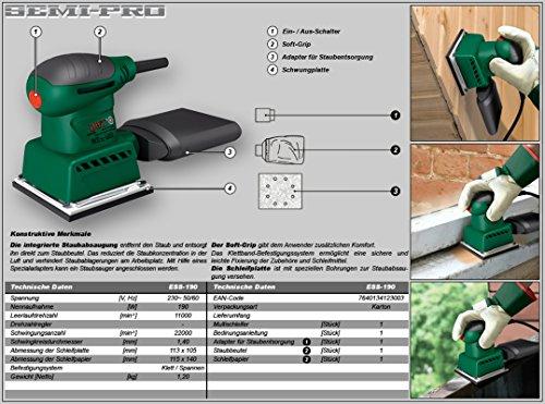 Schwingschleifer 190 Watt 115x140mm klett und spann befestigung