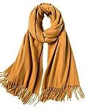 MaaMgic Schal Damen Winterschal aus Baumwolle mit Streifen, Winter Schal mit Fransen, Klassische Frauen Schals,Gelb