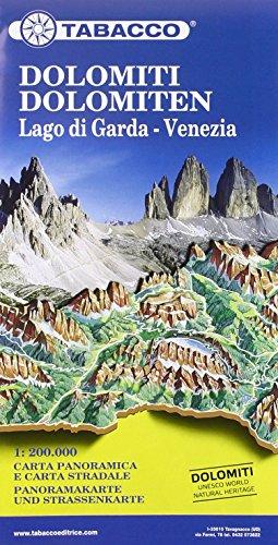 Dolomiti, Lago di Garda, Venezia. Carta stradale e Panoramica in scala 1:200.000. Ediz. multilingue por Tabacco Casa Editrice