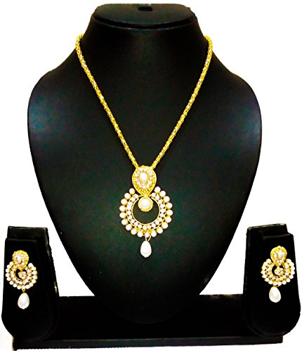 KAAYRA Designer Gold Plated Pearl Necklace Set / Pendant Set With Earring For Girls And Women  available at amazon for Rs.249
