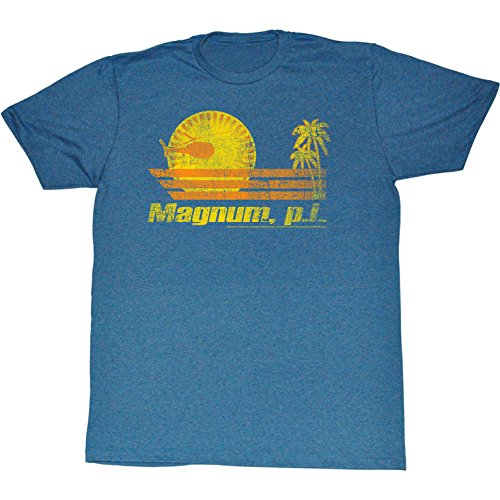 Magnum P.I., in The Sun-Maglietta da uomo, colore: blu Pacifico Triblend Pacific Blue Triblend Large