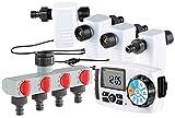 Royal Gardineer Wassercomputer: Bewässerungscomputer BWC-400 mit 4 Schlauch-Anschlüssen (Bewässerungscomputer 4 fach)