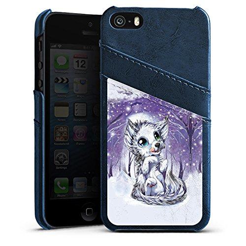Apple iPhone 4 Housse Étui Silicone Coque Protection Loup Dessin Forêt Étui en cuir bleu marine
