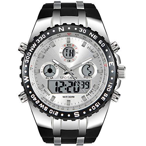 Herren Digital Sportuhr Militär Wasserdicht Analoguhr Stoppuhr Armee Stoßfest LED Hintergrundbeleuchtung Casual Armbanduhren für Männer Schwarz (Kunststoff-militärs)