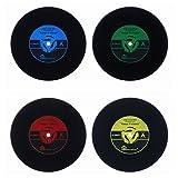 Kimming - Sottobicchieri a forma di dischi in vinile in stile vintage, 4 pezzi
