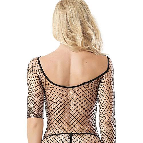 Kostüm Dobby Weibliche - FMN-SEXY, Sexy Big Fishnet Bodystockings Elegantes Design U-Boot-Ausschnitt Langarm Open Crotch Erotik Porno Dessous Kostüm Unterwäsche (Size : One Size)