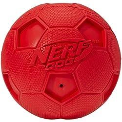 NERF Balle de Foot avec Sifflet pour Chien Rouge Taille L - Couleurs aléatoires