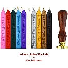 Esnow Manuscrito retro europeo del fuego del tótem 10 palillos antiguos de la cera de lacre de las PC con sello de lacre, 10 colores