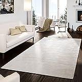 T&T Design Teppich Handgetuftet Modern Qualität Edel Viskose Garn Schimmer Glanz Creme, Größe:240x340 cm