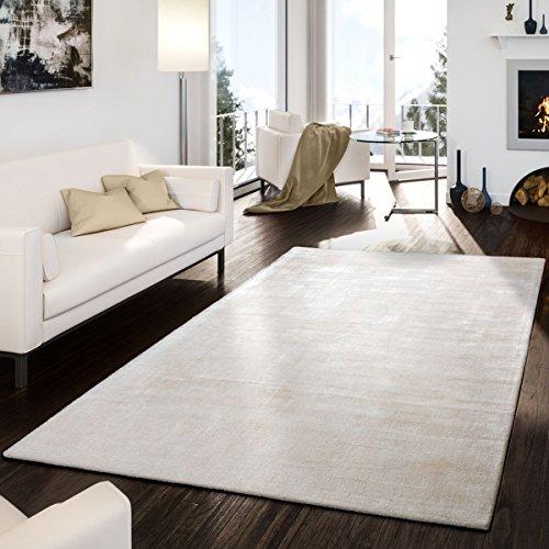T&T Design Teppich Handgetuftet Modern Qualität Edel Viskose Garn Schimmer Glanz Creme, Größe:10x10 cm - Viskose-teppich