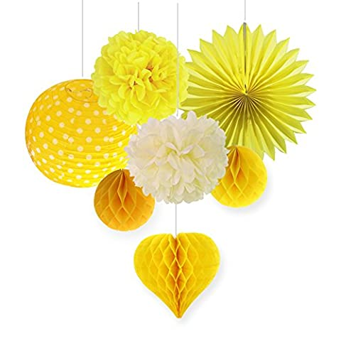 SUNBEAUTY Pack of 7 Yellow Series Tissue Paper Pom Poms Paper Fans Honeycomb Balls Combination Decoration for Summer Party Birthday Celebration
