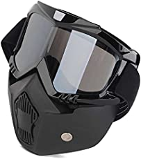 Mototrance MT610058-1 ABS Detachable Goggles Nose Face Mask (Black)