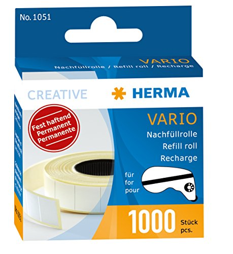 Herma 1051 Nachfüllkassette für Vario Klebespender (permanent fest haftend, Inhalt 1.000 Klebestücke) 1 Packung, Bastelkleber lösemittelfrei - Sammlung Kleine-spender