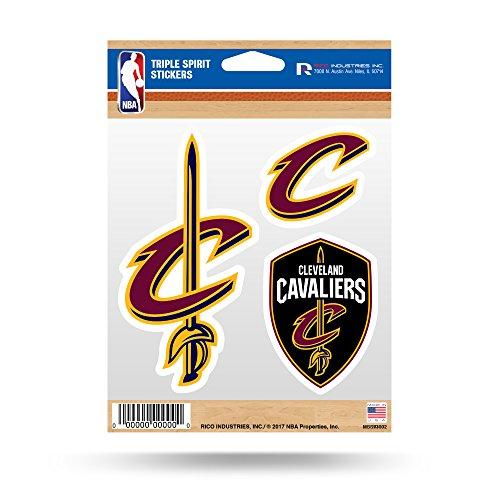 (Rico NBA Cleveland Cavaliers Triple Spirit Aufkleber, Wein, gold, 3Team Aufkleber)