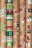 Wunderschönes & Hochwertiges Geschenkpapier für Weihnachten - Große Auswahl an Christmas Weihnachtspapier - Weihnachtsgeschenkpapier/Geschenkverpackung (Sortiment 7: 5 Rollen - 2mx70cm)