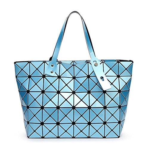 Strawberryer Sacs à bandoulière en cuir femmes Sacs à main géométriques Pliage en sac fourre-tout,sky blue-43*28cm