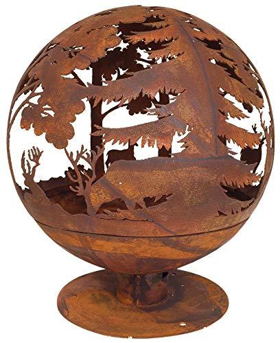 Esschert Design Elchmotiv Feuerball 58 x 58 x 66 cm, aus Metall, gelasert, in Rost-Optik, mit Standfuß