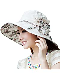 ad2e2197cea57 Zoylink Women Floral Large Brimmed Hat Beach Sun Hat UV Sun Hat for Summer  Outdoor