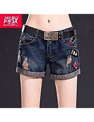 Harlan en la versión coreana del ser salvaje que prensan los shorts de denim de cintura de agujero,26,Azul