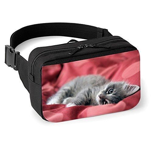 gatti-10016-gatto-grigio-unisex-nero-marsupio-anca-cintura-borsa-regolabili-cinghia-con-e-motivo-col