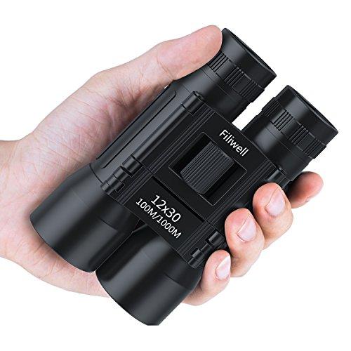 Filiwell Mini Fernglas Testsieger 12X30 Zoom Ferngläser Teleskop Klein Kinder Kompakt Wasserdicht Leicht Geschenk für Vogelbeobachtung Camping Reisen Sport