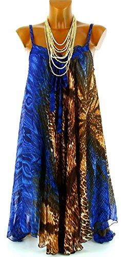 Charleselie94 - Kleid Plissiert Musselin Asymmetrisch Weit Sommer Neu DE 38/46 - JOANA - CharlesElie94 Blau