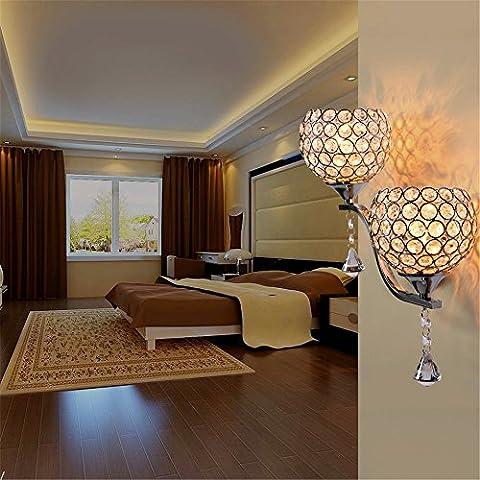 QWER Couvercle en verre cristal lampe de chevet chambre à