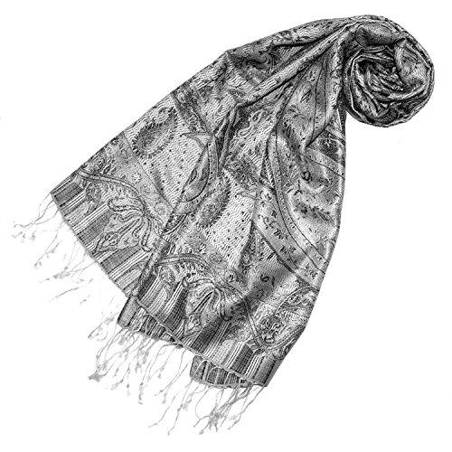 Lorenzo Cana Luxus Damen Pashmina Schal Schaltuch jacquard gewebt 100% Seide 55 x 180 cm Paisley Muster Seidenschal Seidentuch Seidenpashmina harmonische Farben -
