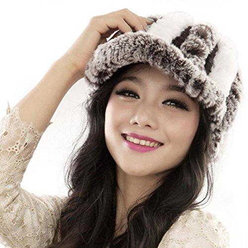Tefamore Sombrero de las Mujeres Invierno de Caliente Gorro de Suave de Moda (Tamaño:regular, Blanco)