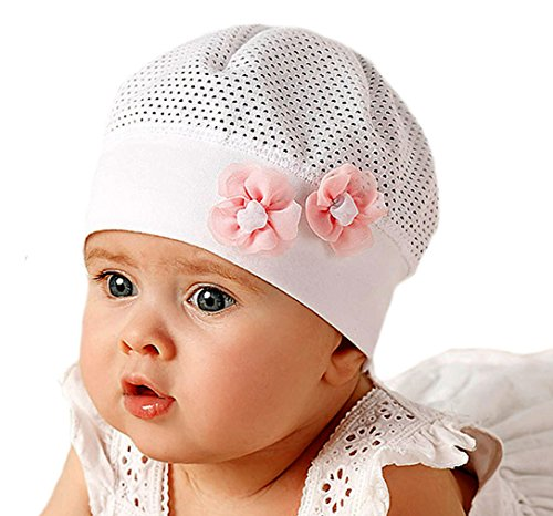 Marika Baby Mädchen Leichte Sommer Mütze Hut 2 Blumen Taufe Weiß Rosa Größe 40