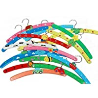 10x PCS Multi Coloured Wooden Childrens Baby Kids Coat Clothes Hangers
