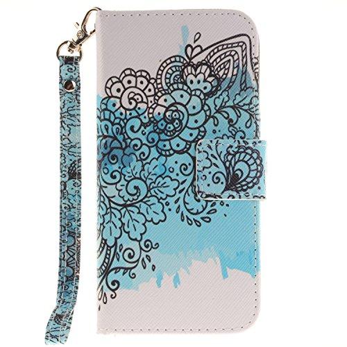 Voguecase® für Apple iPhone SE hülle,(Katzenbär 03) Kunstleder Tasche PU Schutzhülle Tasche Leder Brieftasche Hülle Case Cover + Gratis Universal Eingabestift Blaue Blumen 07