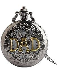 Maybesky Reloj de Bolsillo Hueco del Cuarzo de la Vendimia con el Reloj del Regalo de los Hombres de la Cadena Caja de Regalo para cumpleaños Aniversario día Nav