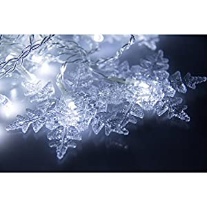 Bellabrunnen 96 Leds 8 Mode 3M x 0.6M LED Light Snowflake Fairy Indoor Outdoor Curtain String Lighting Wedding Christmas Xmas Party Holiday Year Decoration (White) by Bellabrunnen