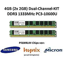 4GB (2x 2GB) Dual Channel kit DDR31333MHz PC3–10600U 240pin 2RX8PC Memoria Memory trabajo