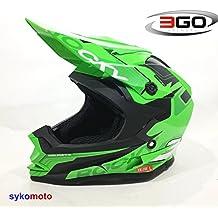 3GO XK188 ROCKY CUB NIÑOS MOTOCROSS MOTOCICLETA QUAD ATV DIRT BMX CASCO VERDE (L (51 - 52 CM))
