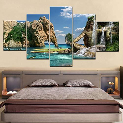 Yyjyxd 5 panel Moderne Natürliche schönheit HD kunstdruck leinwand kunst wand gerahmte gemälde für wohnzimmer wohnkultur wandbild Kunstwerk-16x24/32/40inch,With frame