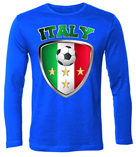 Italien Italia Italy Fan t Shirt Artikel 4659 Fuss Ball Langarm Longsleeve EM 2020 WM 2022 Trikot Look Flagge World Cup Maglia Männer Herren XL