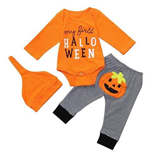 Halloween Baby Overalls Säugling Strampler Kleidung Playsuit Schlafanzug Spielanzug Lange Ärmel Romper Jumpsuit Gestreifte Kleidung + Hosen + Hüte