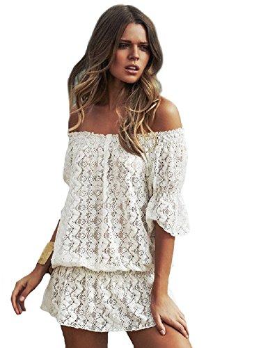 New Damen Off Weiß eng Off Schulter Spitze Cover Up Bademode Strandmode Sommer tragen Größe UK 10–14EU 38–42 (Kaftan Garten)