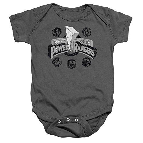 Power Rangers - - Puissance enfant Coins Onesie, 6 Months, Charcoal