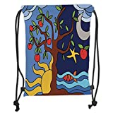 Custom Printed Drawstring Sack Backpacks Bags,Tree of Life,Pastoral Illustration of Starry Night and Day Tree Sun Sea Moon Fish Apples Funk Decor Decorative,Multi Soft Satin,5 Liter Capacity,Adjustabl