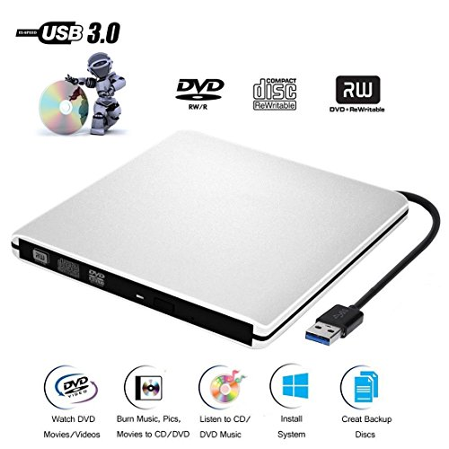 CD DVD Lecteur Graveur Externe USB3.0 Ultra Slim Portable,Graveur Externe Drive CD DVD +/-RW , pour Apple MacBook, Pro, Air, toutes les systèmes Mac OS, Windows 10, ,8, 7,XP, Vista(Argenté)